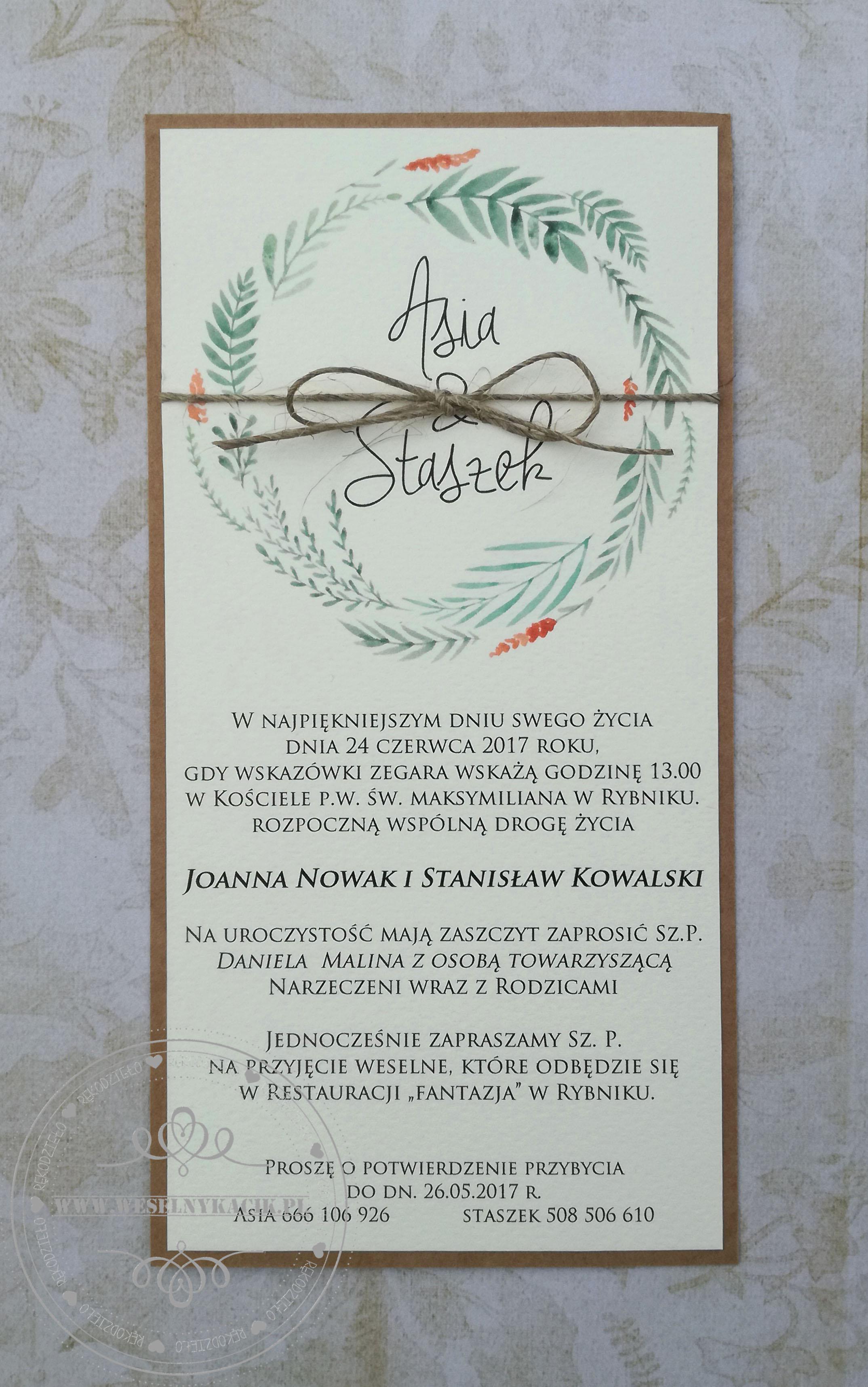Zaproszenie ślubne Eco 03